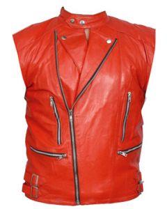 mens orange leather vest front