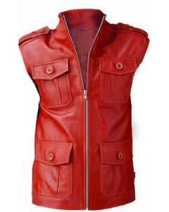 mens red leather vest front