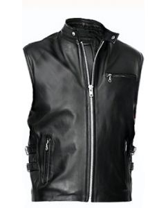 mens black leather vest front