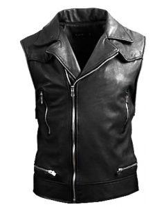 mens black leather vest front