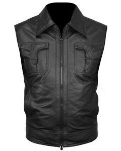 mens black fashion leather vest front