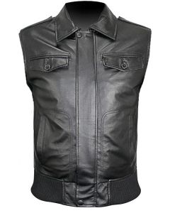 men bomber black leather vest front