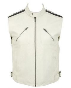 mens white leather vest front