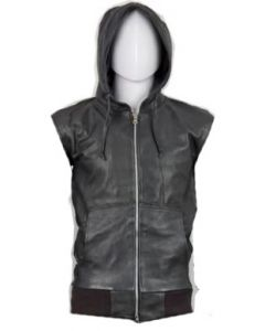mens hood black leather vest front