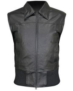 mens bomber black leather vest front