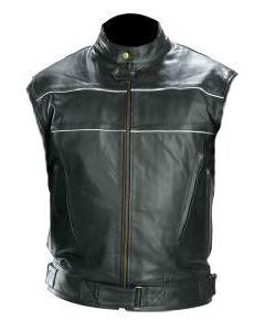 mens white piping black leather vest front