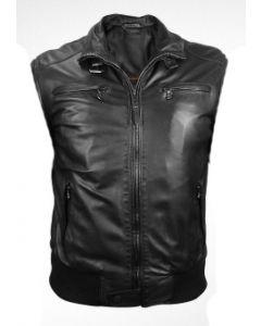 mens cow hide black leather vest front