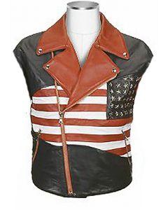 mens flag leather vest front