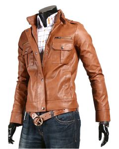mens tan leather jacket front