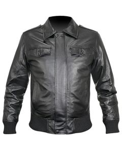 mens black bomber leather jacket front