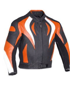 Mens Cow Hide Fire Style Padded Biker Racing Leather Jacket