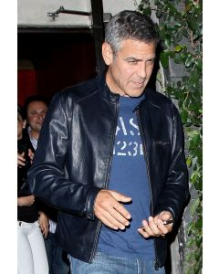 george clooney leather jacket front