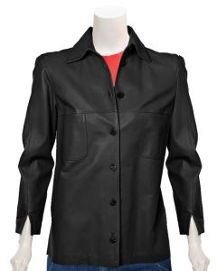 ladies black fashion leather jacket front