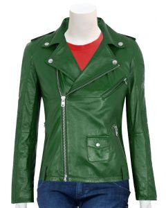women moto green leather jacket front