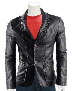 mens 2 button black leather coat front