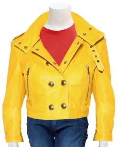 ladies yellow leather jacket front