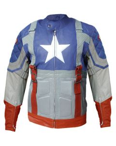 Movie Captain America Chris Evan The First Avenger Cow Hide Replica Leather Jacket