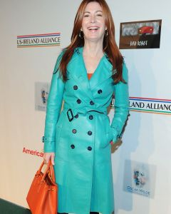 Dana Delany leather coat front