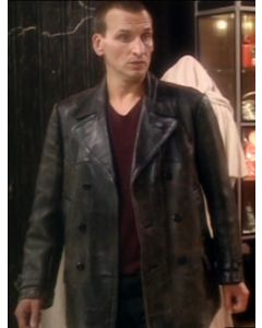 dr who leather coat front