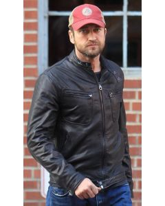 gerard butler leather jacket front