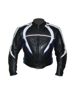 Mens Cow Hide Black Padded Biker Racing Leather Jacket