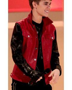 justin bieber leather jacket front
