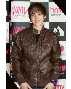 justin bieber borwn leather jacket front