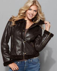 Kate Upton fur jacket front