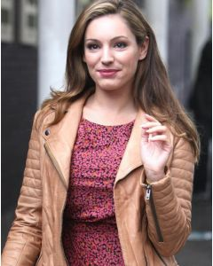 kelly brook leather jacket front