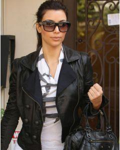 kim kardashian leather jacket front