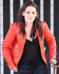 Kristen Stewart red jacket front