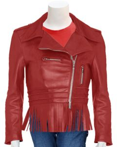 ladies red leather jacket front