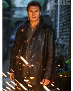 liam neeson leather coat front