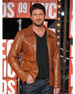 gerard butler leather jacket front