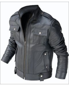 mens black leather jacket front