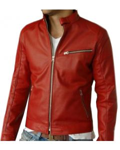 mens red leather jacket front