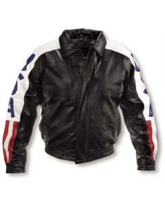 mens usa flag leather jacket front