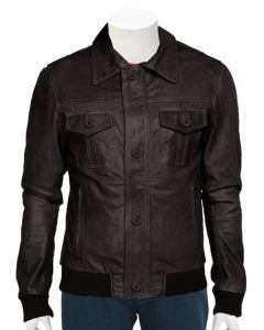 mens brown bomber leather jacket front