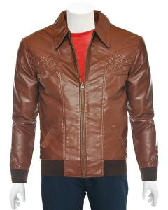 mens tan bomber leather jacket front