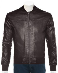 mens brown hood leather jacket front