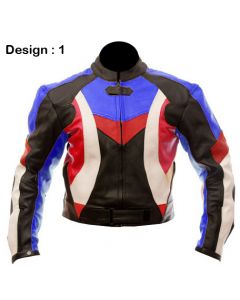 Mens Cow Hide Padded Biker Racing Leather Jacket