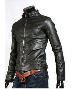 mens black fashion leather jacket front