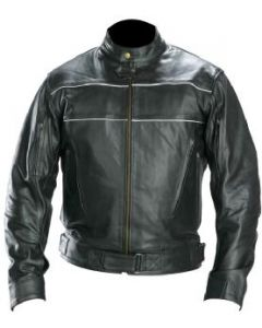 mens white piping black leather jacket front
