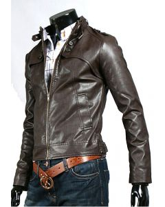 mens brown leather jacket front