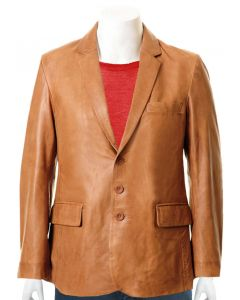 mens tan leather coat front