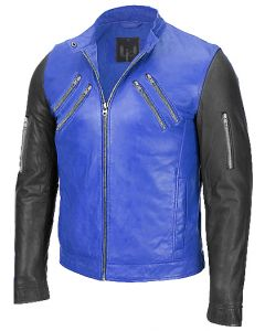 men black and blue jacket front
