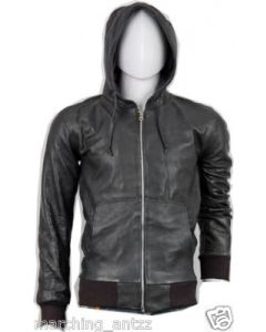 mens black hood leather jacket front