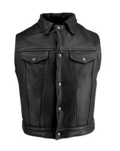 men black leather vest front