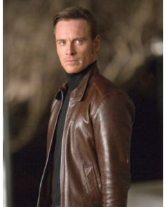 michael fassbender leather jacket front