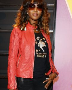 Naomi Campbell red jacket front